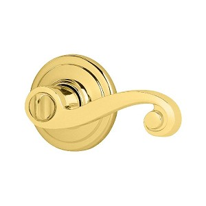 Kwikset 979 Lido Lever RH SMT Double Cylinder Trim RH Door, Bright Brass