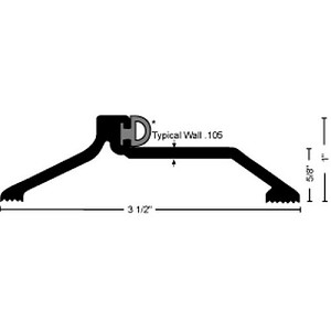 "NGP 891P Pile Bumper Seal Threshold 1"" x 3-1/2"", Aluminum"