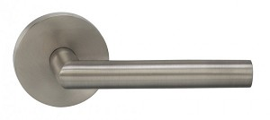 "Omnia 912MD/238F.PR14 912 Lever with Modern Rose Privacy Lever with 2-3/8"" Backset, Full Lip Strike Polished Nickel"