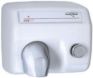 Saniflow E88 Push Button Hand Dryer, White Metal