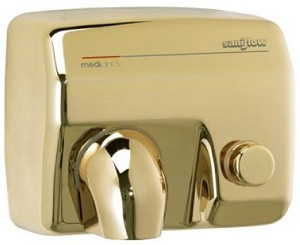 Saniflow E88O Push Button Hand Dryer, Golden Plated