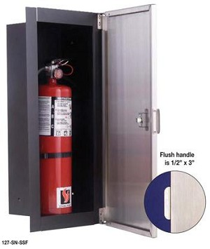 Strike First 127-SN Fully-Recessed Extinguisher & Valve Cabinet, Stainless Steel Front