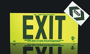 Strike First JAL-UL419 Jalite UL Photoluminescent EXIT Sign Green Lettering