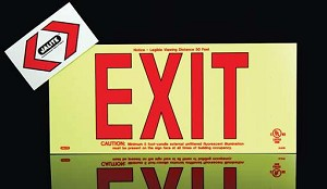 Strike First JAL-UL619 Jalite UL Photoluminescent EXIT Sign Red Lettering