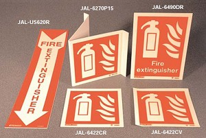 "Strike First JAL-US620R Jalite Photoluminescent ID Sign Rigid ""Fire Extinguisher"""