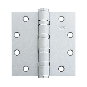 "Ives Commercial 5BB1412652NRP 4-1/2"" x 4-1/2"" Five Knuckle Ball Bearing Standard Weight Hinge Non Removable Pin Satin Chrome Finish"