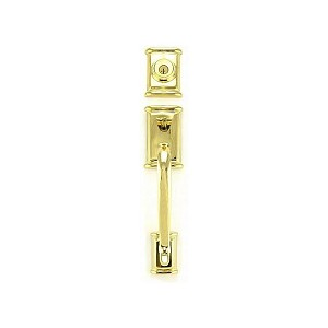 Kwikset 800ADHLIP-L03S Ashfield Single Cylinder Exterior Handleset SmartKey with RCAL Latch and RCS Strike Lifetime Brass Finish