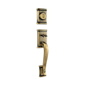 Kwikset 801ADHLIP-5S Ashfield Double Cylinder Exterior Handleset SmartKey with RCAL Latch and RCS Strike Antique Brass Finish