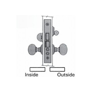 "Baldwin 6001055L Left Hand Entry/Apartment Knob by Knob 2-3/4"" Backset Mortise Lock Body Lifetime Bright Nickel Finish"