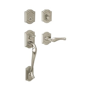Baldwin 85327150LENT Bethpage Sectional Tubular Left Hand Single Cylinder Handleset Satin Nickel Finish