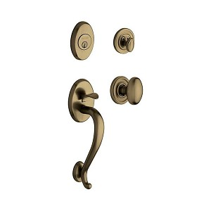 Baldwin 85335050ENTR Logan Sectional Tubular Single Cylinder Handleset with 5025 Egg Knob Antique Brass Finish