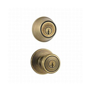 Kwikset 695T-5-B Combo Keyed Entry Tylo Knob with Double Cylinder Deadbolt - Box Pack with RCAL Latch and RCS Strike Antique Brass Finish