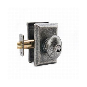 MaxGrade AG11400 Henley Knob Entry Lock with Rectangular Rose with Adjustable Latch and Full Lip Strike Rustic Pewter Finish