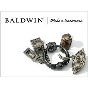 "Baldwin 5513151FLS 2-3/8"" Estate Lever Passage Latch with Full Lip Strike Antique Nickel Finish"